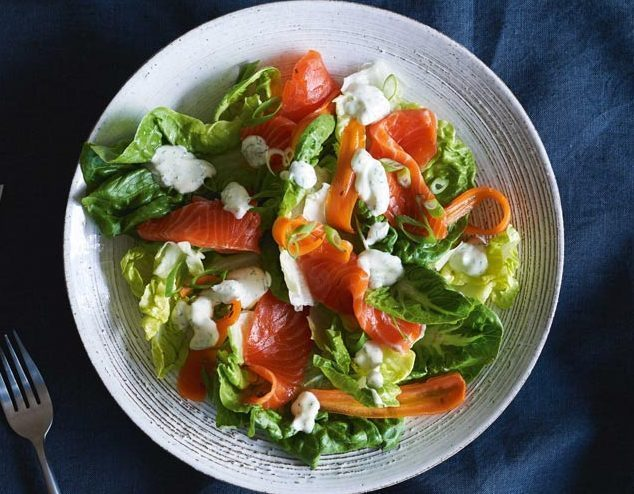 BABY GEM, GRAVLAX, CARROT PICKLE & DILL SOUR CREAM DRESSING