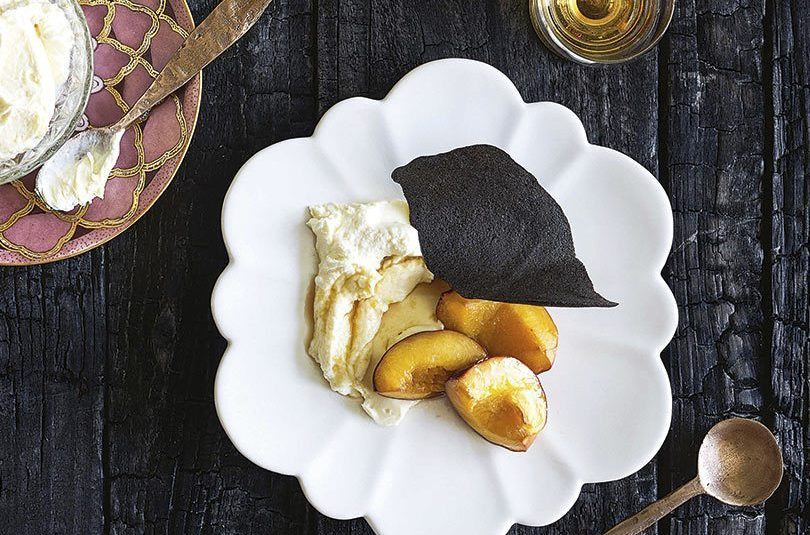 SMOKED NECTARINES WITH GOAT'S CHEESE MOUSSE & ACTIVATED CHARCOAL WAFERS