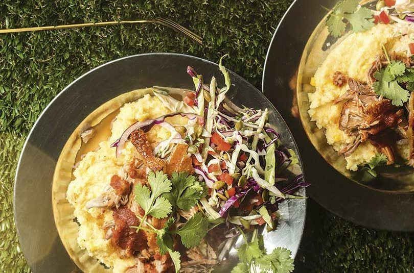 PULLED PORK WITH EASY TOMATO BARBECUE SAUCE, CHEESY POLENTA & BARBECUE SLAW