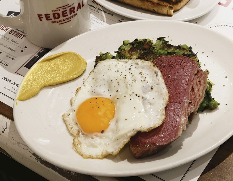 AL BROWN, FEDERAL DELI CORNED BEEF WITH PEA HASH & FRIED EGG