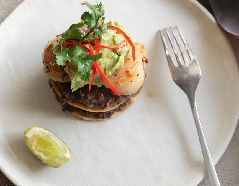 BLACK BEAN & SCALLOP TORTA WITH AVOCADO PUREE