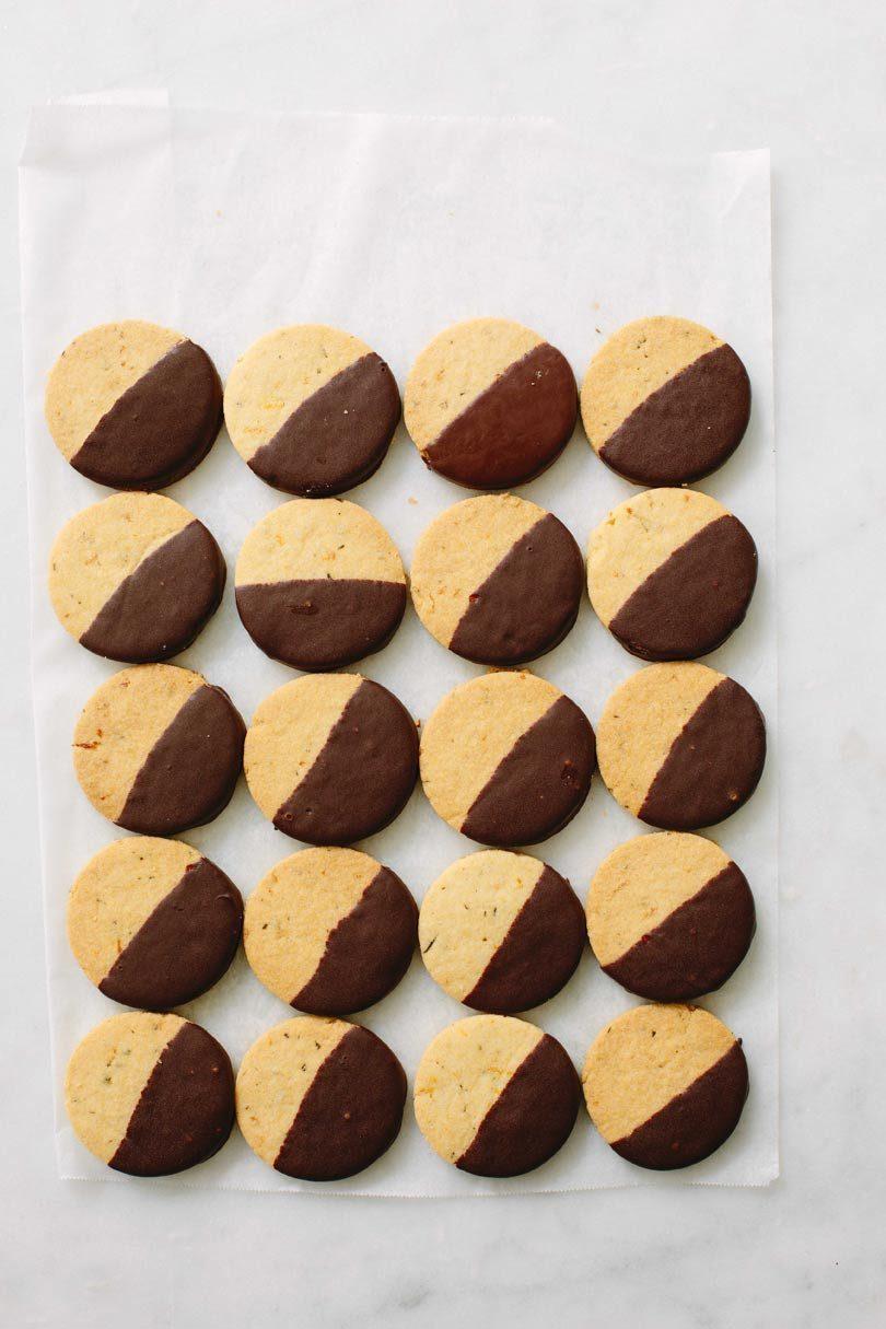 DARK CHOCOLATE-DIPPED ORANGE & ROSEMARY BISCUITS