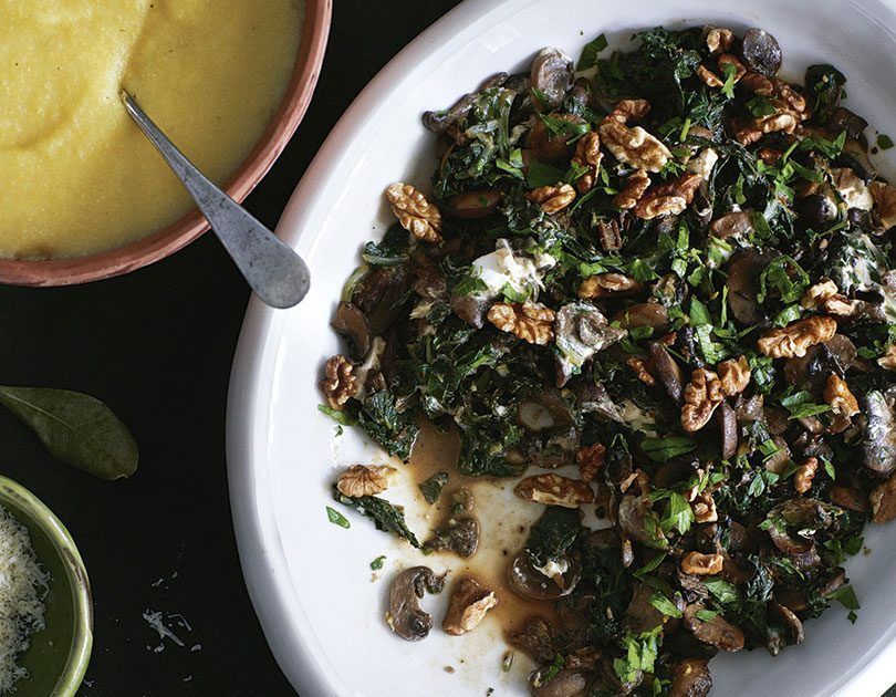 MUSHROOM, SILVERBEET  & GOAT'S CHEESE WITH WALNUTS