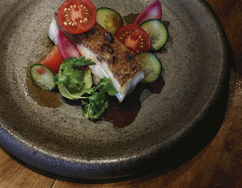 NIC WATT, MASU BARBECUED KINGFISH FILLET WITH BLACKENED TOMATO SALSA