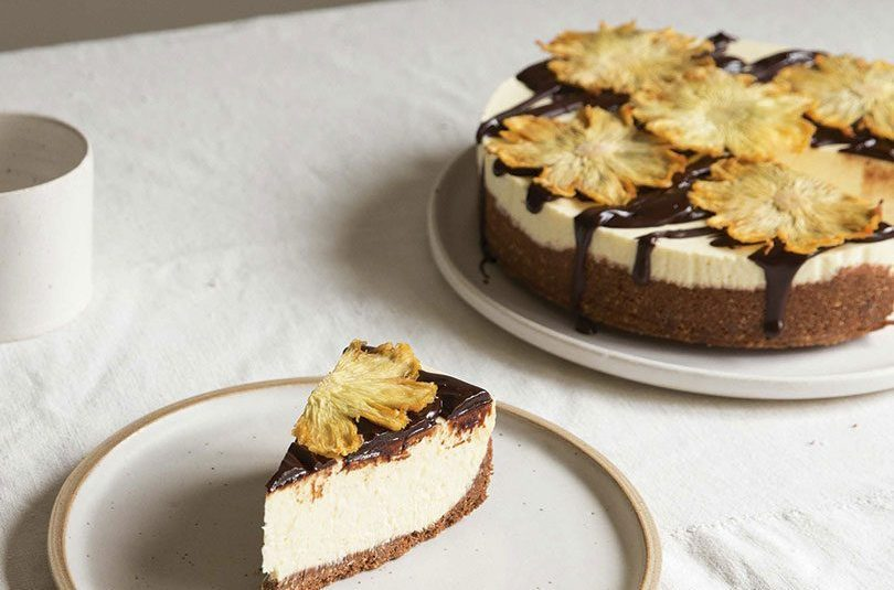 PINEAPPLE WITH DARK CHOC CHEESECAKE
