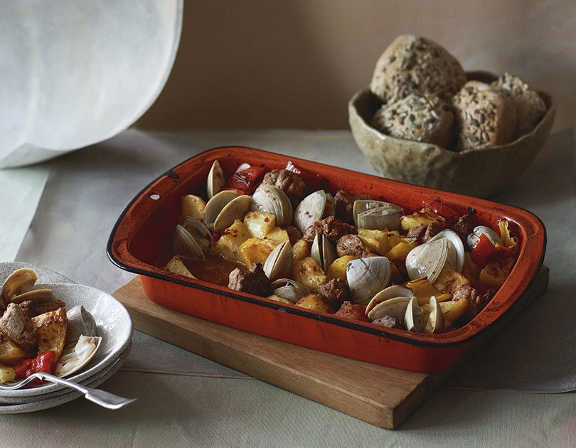 BAKED CLAMS WITH POTATO, PORK & CHORIZO FLAVOURS
