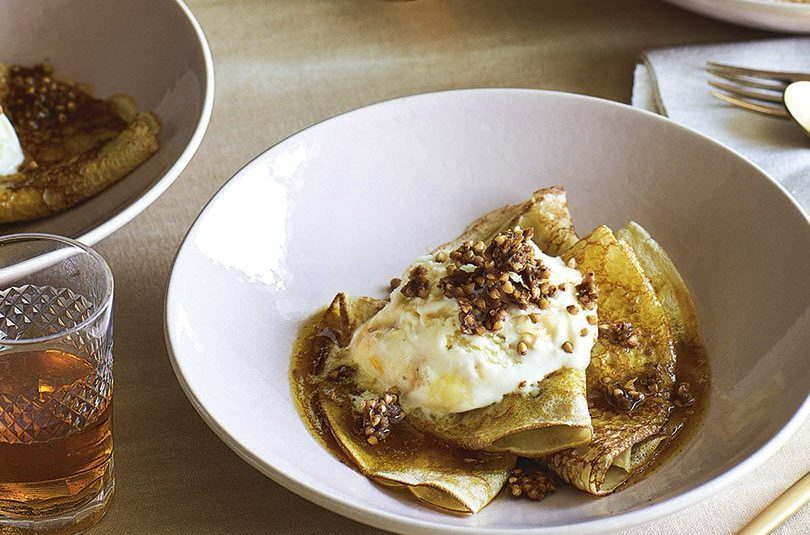BUCKWHEAT CRÊPES SUZETTE WITH CARAMEL SPICED BUCKWHEAT