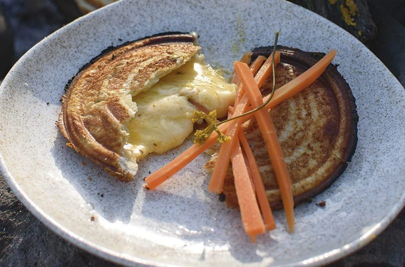 CHEDDAR & MUSTARD JAFFLE WITH SPICY DILL-PICKLED CARROTS