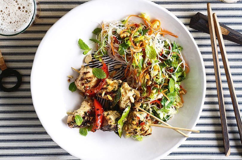 MONKFISH KEBABS WITH THAI NOODLE SALAD