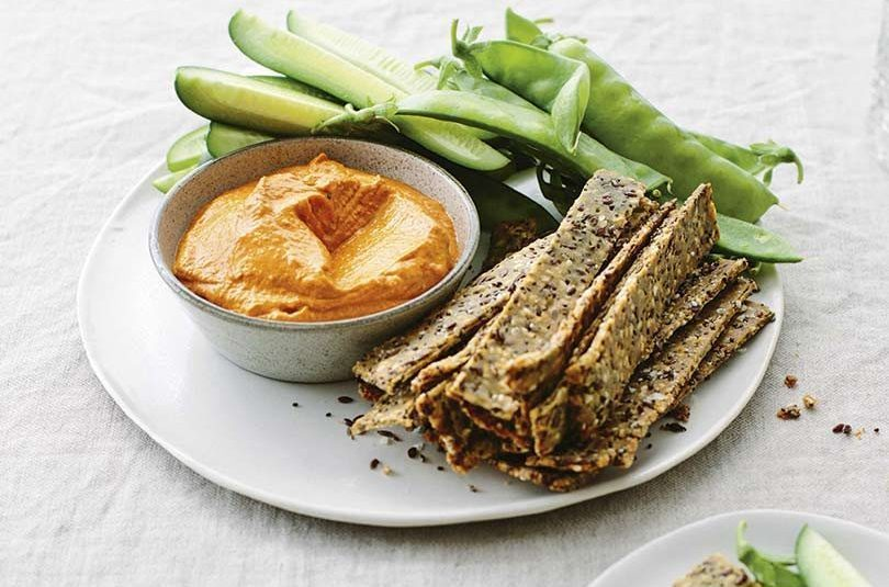 SMOKY CAPSICUM DIP WITH SEED CRACKERS