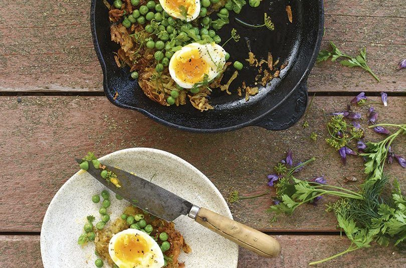 ROSTI WITH SOFT EGGS, PEAS & HERBS