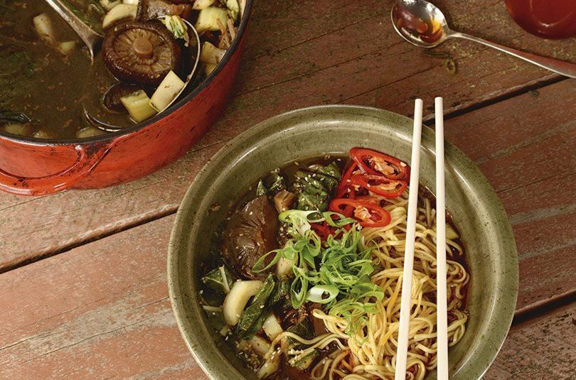 BLACK SESAME & SHIITAKE RAMEN WITH CHARRED CHILLI OIL
