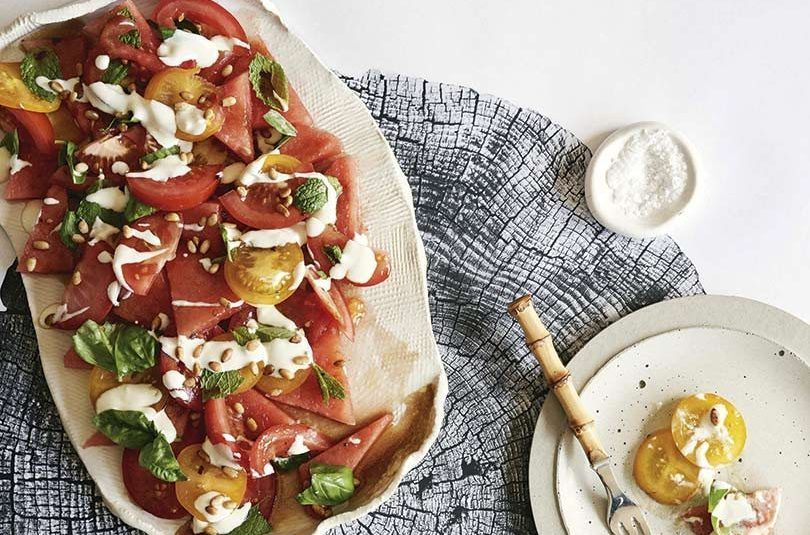 TOMATO & WATERMELON SALAD WITH SMOKED YOGHURT