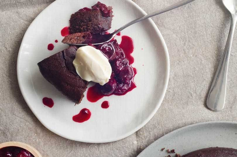 Flourless Chocolate Cake with Sour Cherry Compote