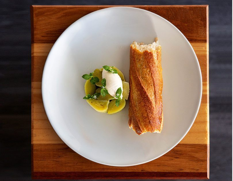 LEEK TERRINE, CHILLI, GOAT'S CHEESE & BAGUETTE