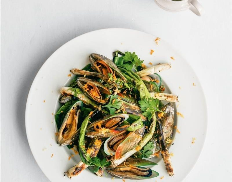 Charred spring onions & mussels with a citrus, garlic, chilli & parsley dressing