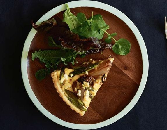 GLAZED SHALLOT TART WITH ASPARAGUS & SHEEP'S CHEESE