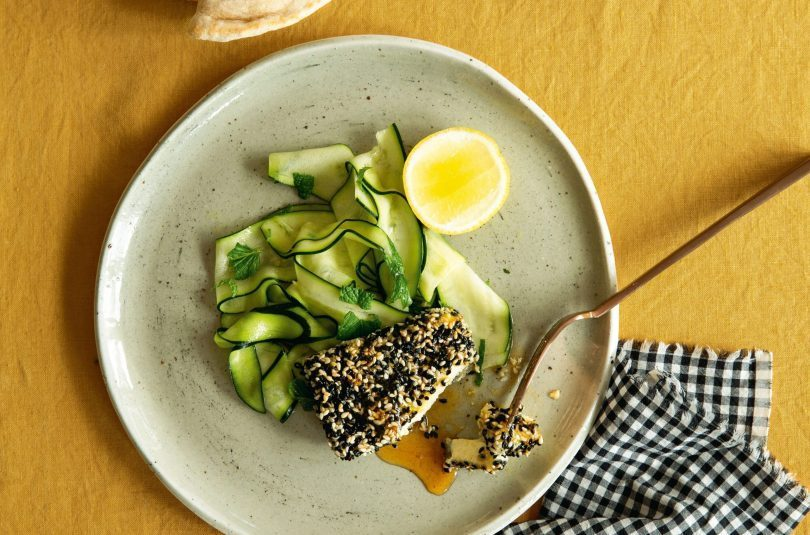 Sesame-crusted feta with honey & a zucchini salad