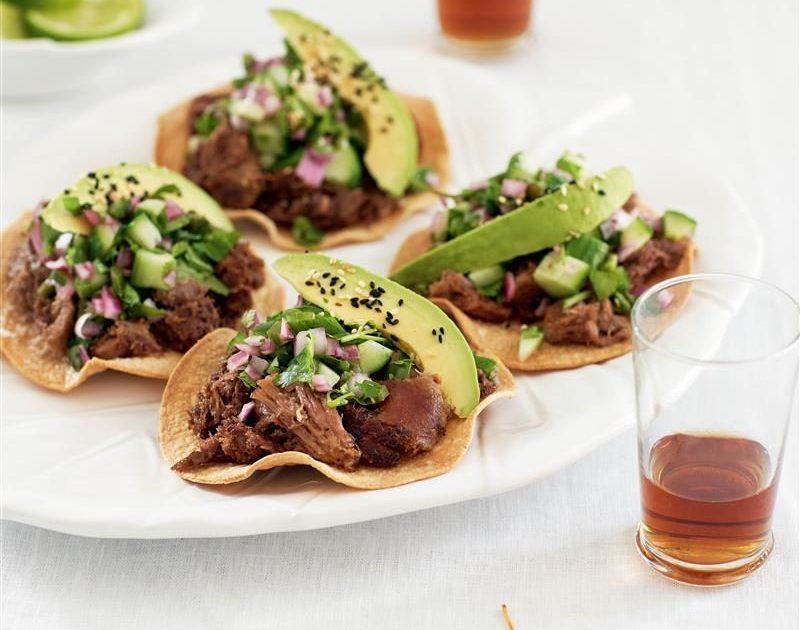 Beef-tongue tostadas