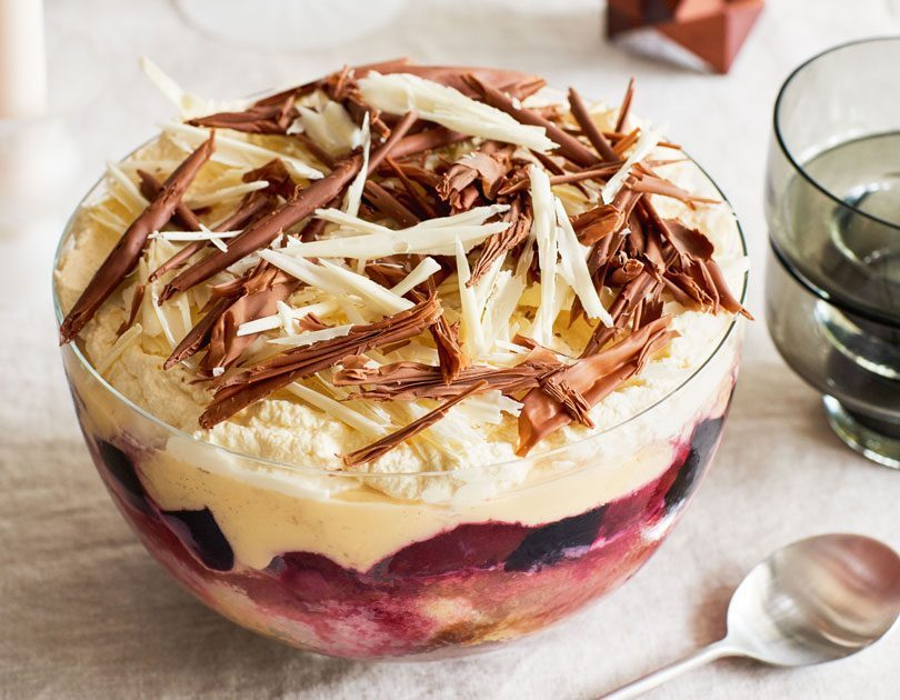 Black Doris Plum, Rhubarb & White Chocolate Trifle