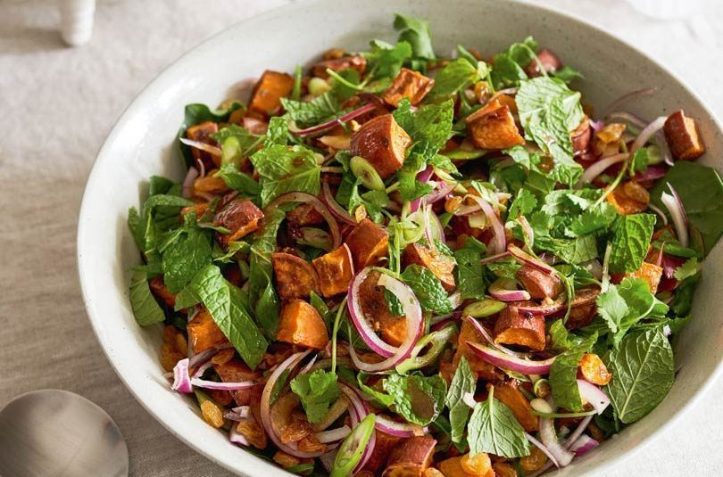 Roast Kumara Salad with Mint & Honey Dressing