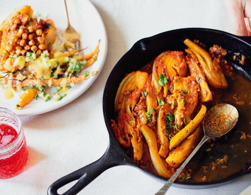 Braised Fennel with Crispy Chickpeas & Saffron Basmati