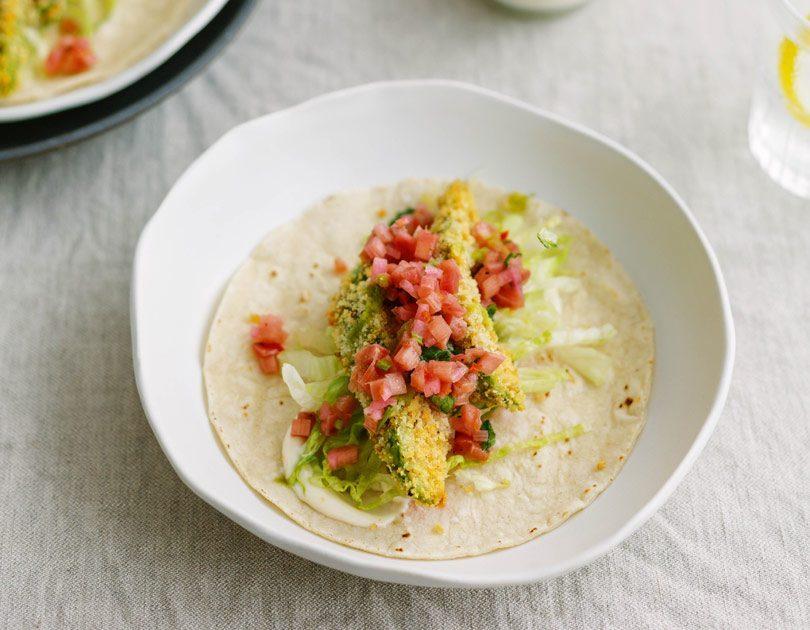 Crispy Avocado Tacos with Rhubarb Salsa