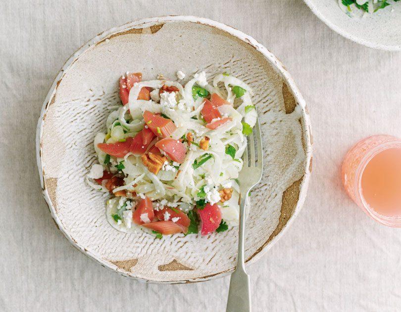 Pickled Rhubarb, Fennel & Feta Salad