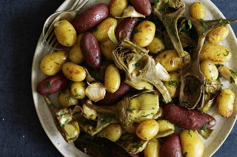 Roasted Artichokes with New Potatoes