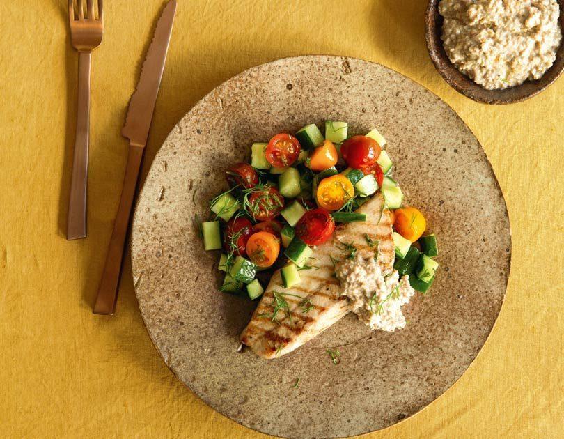 Grilled Fish, Walnut Tarator & Cucumber Salad