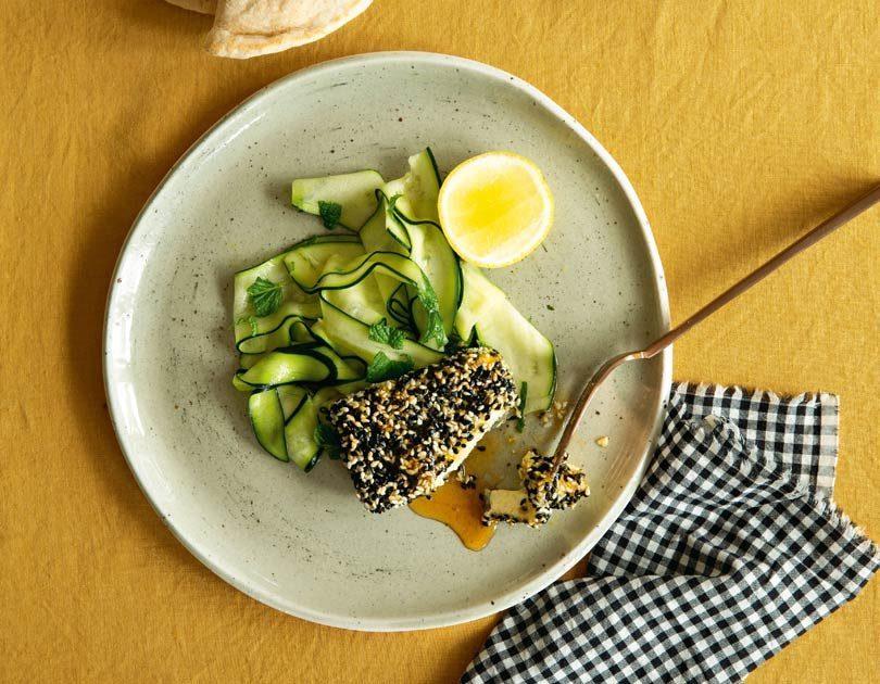 Sesame-Crusted Feta with Honey & a Zucchini Salad