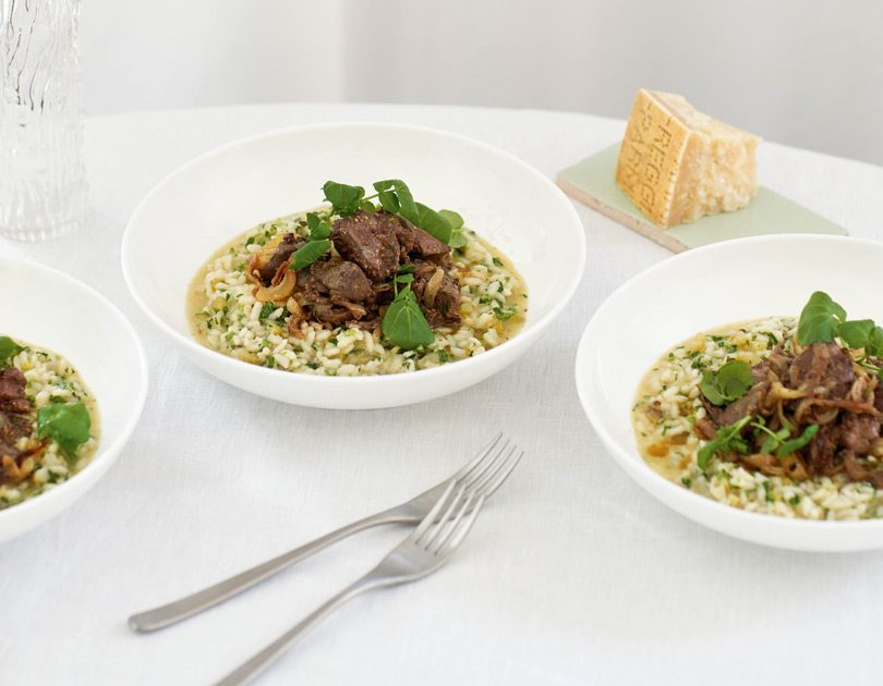 Marsala Chicken Livers with Watercress Risotto