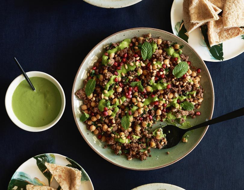 Spiced Lamb & Chickpeas with Green Tahini Sauce