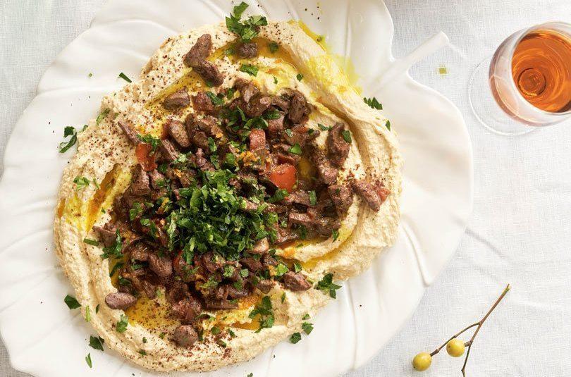 Turkish-Spiced Chicken Hearts with Hummus