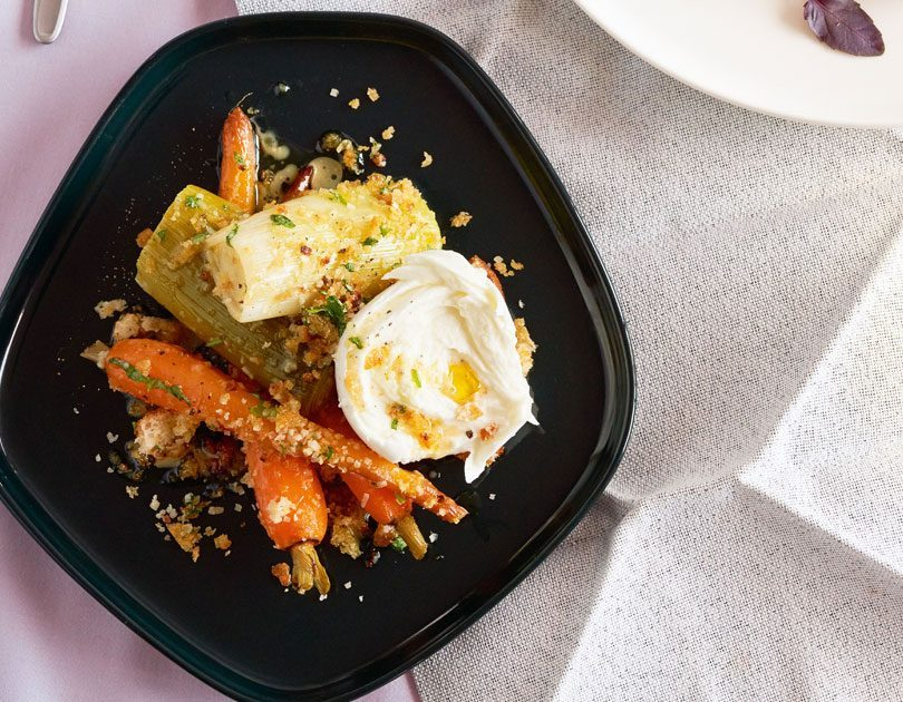 Braised Leeks & Carrots with Parmesan Breadcrumbs