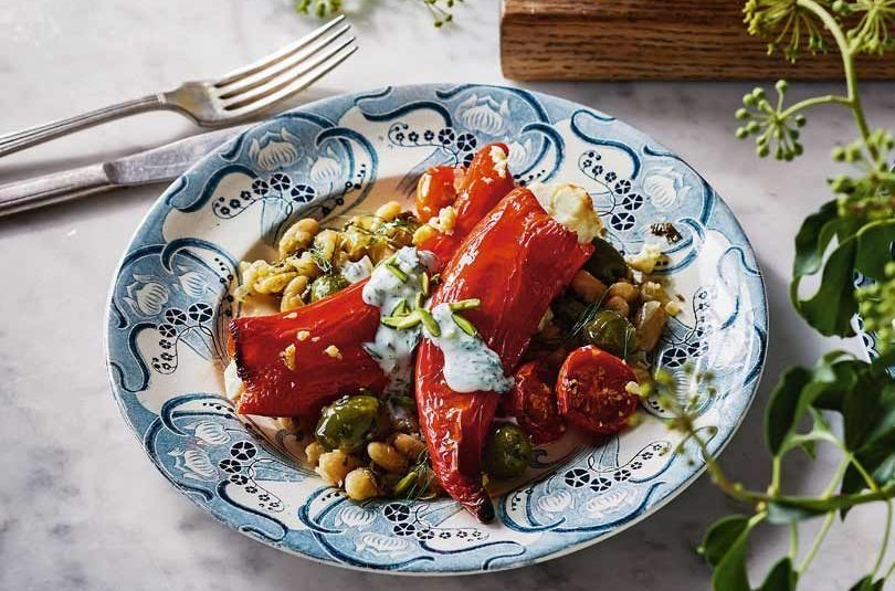 Stuffed Peppers with Feta & Beans