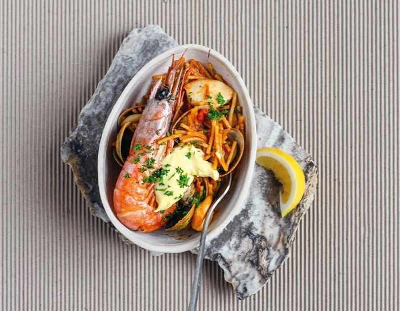 Fideua with Squid & Prawns, Lemon & Garlic Allioli