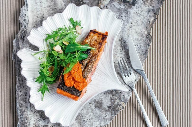 Panfried Salmon with Romesco & Lemony Herb & Nut Salad