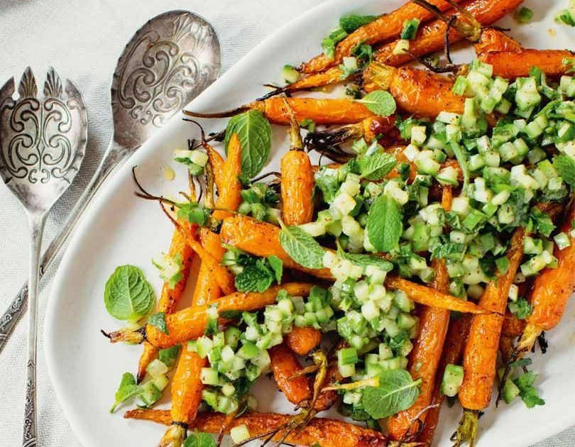 Roasted Carrots with Sumac Cucumber & Preserved Lemon Dressing