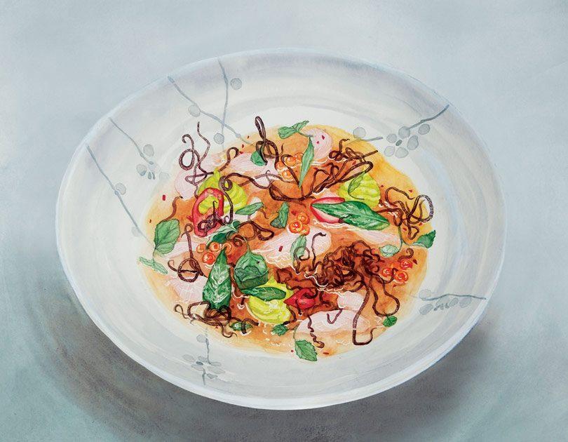 Scampi Ceviche with Avocado, Microgreens & Scampi Oil