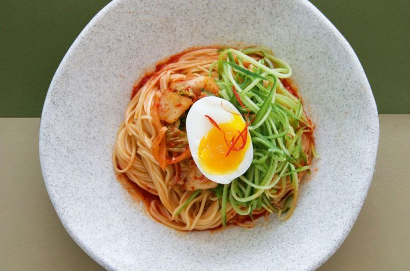 Bibim Guksu (Cold Wheat Noodles with Spicy Sauce, Kimchi & Egg)