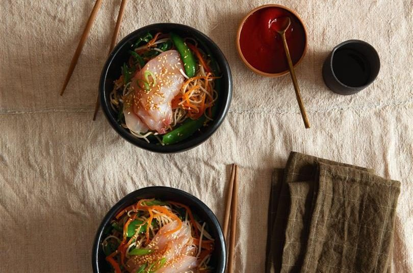 Chilled Soba Noodle Salad with Sriracha-Miso Dressing