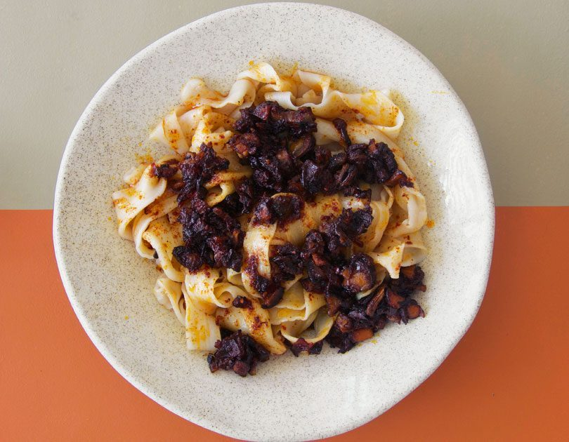 Hand-Pulled Noodles with Spicy & Sour Mussel Xo Sauce