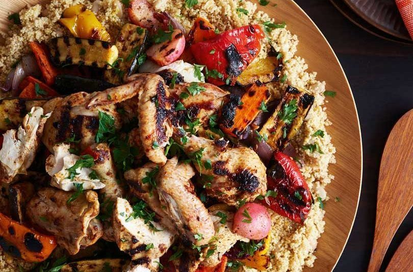 Barbecued Chicken & Veges with Beans & Couscous
