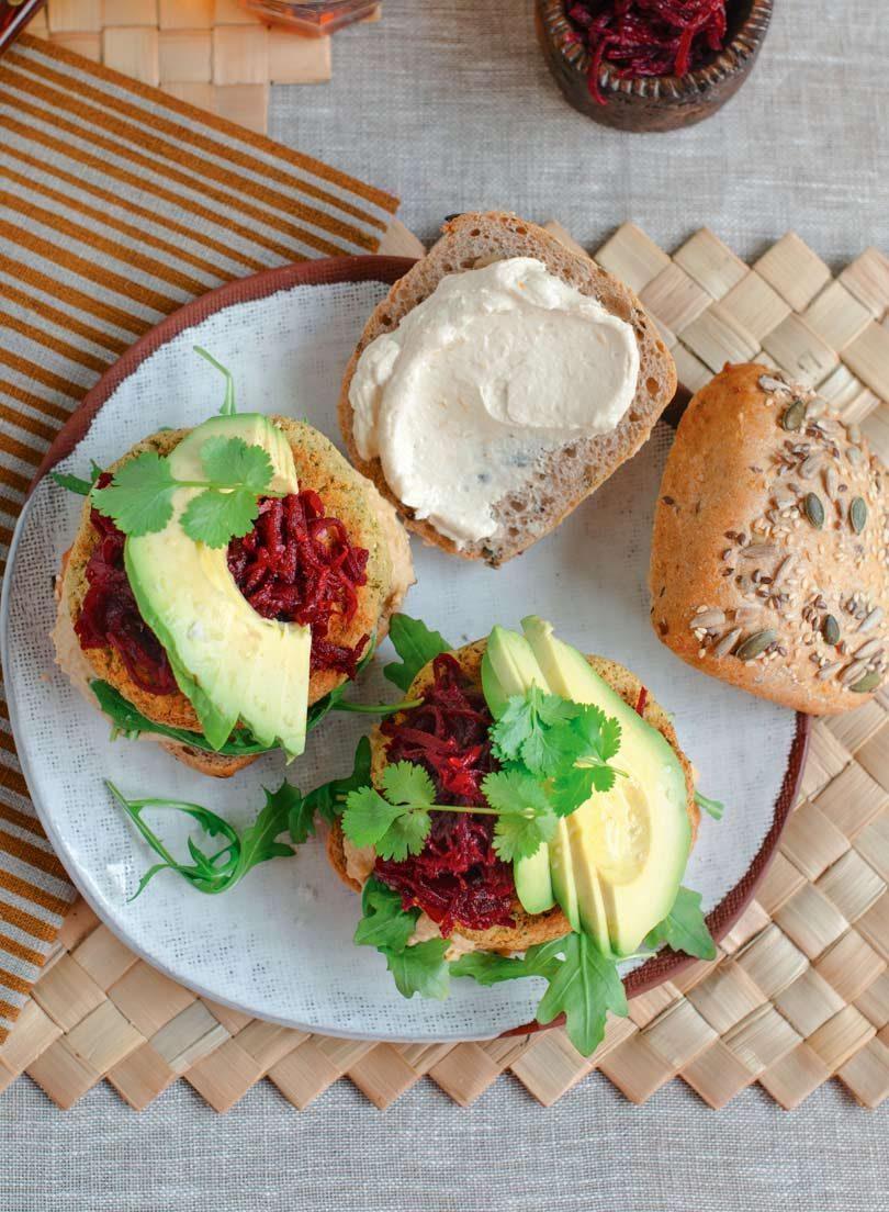 Cauliflower Falafel Burger with Hummus & Beetroot Relish