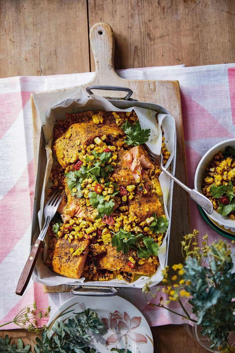 Limey Corny Salmon Bake
