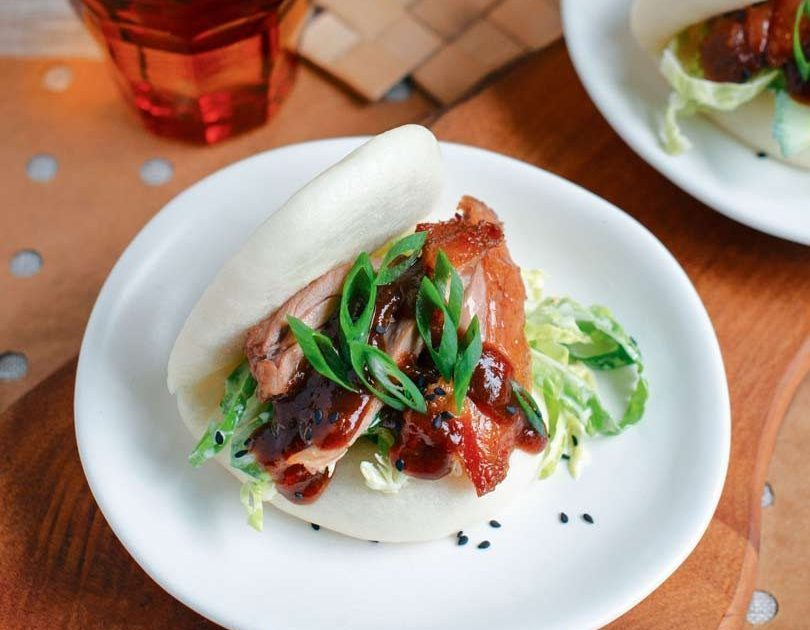 Roast Duck Burger with Hoisin Sauce in Steamed White Bun