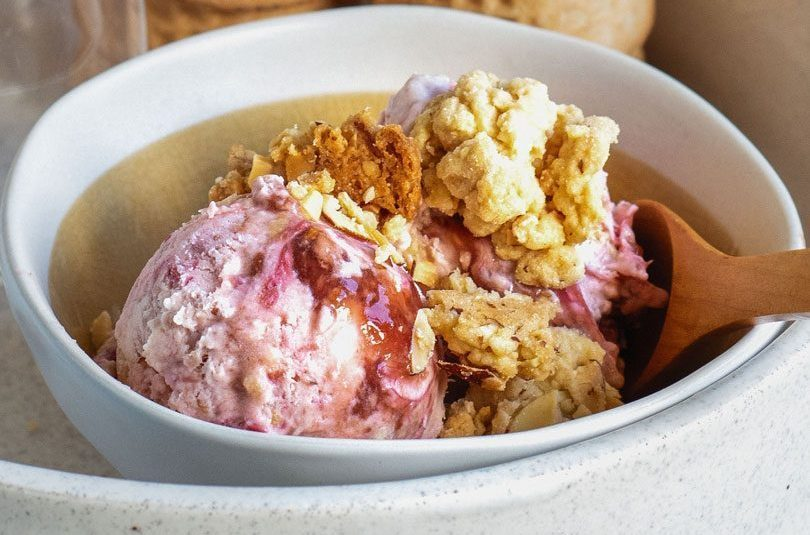 No-Churn Rhubarb & Almond Crumble Ice Cream