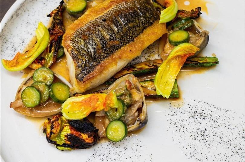 BLUE COD WITH ZUCCHINI, FERMENTED CHILLI, LEMON & DIAMOND SHELL CLAMS