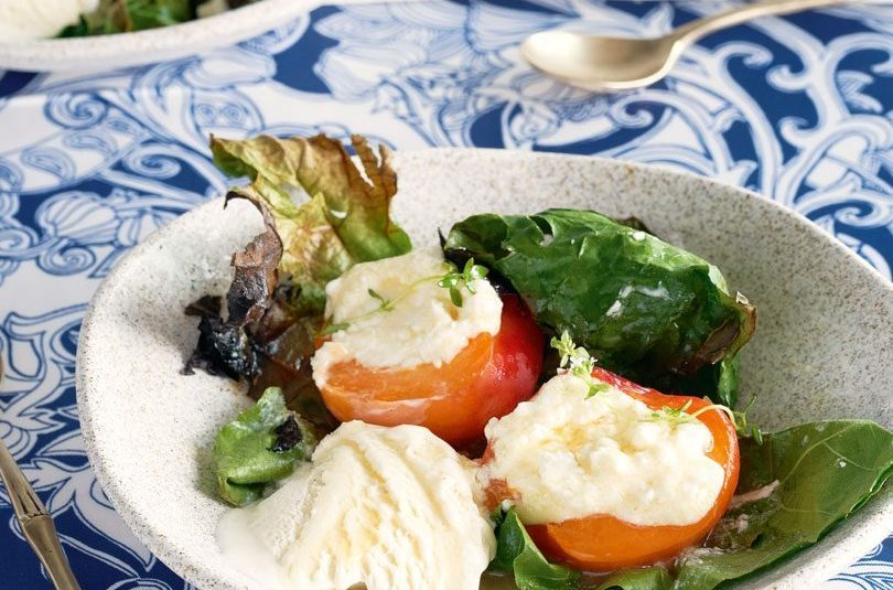 BARBECUED APRICOTS, HONEY & CHÈVRE IN FIG LEAVES
